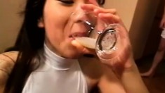 Dirty Japanese Teen Gets Covered In Loads Of Freshly Milked Cum