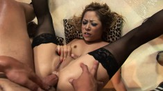 Latina Chanel Chavez takes turns getting their asses nailed in a threesome