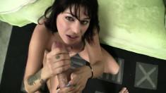 Lustful brunette Britney Stevens gets her holes fucked hard POV style