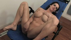 Athletic Brooke Shine oils up her big tits and fingers her aching cunt