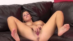 Sexy babe Keisha Grey looks good enough to eat while toying herself