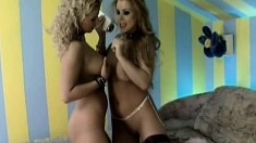 Two smoking hot young babes moan while eating each other out
