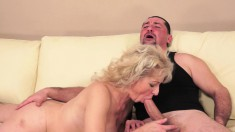 Kinky blonde mature gets her hairy cunt drilled good by a younger guy