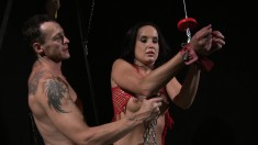 Hottie Andy gets tied up in the dungeon and is tortured and fucked over