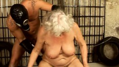 Insatiable blonde granny plays out her dark fantasies in the dungeon