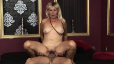 Big breasted blonde milf gets her hairy snatch pounded deep and rough