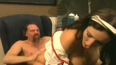 Stacked nurse Taylor St Claire getting drilled deep by a hung patient
