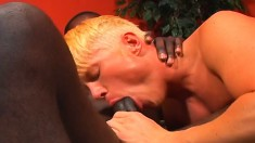 Twink blows his black rod and gets his ass licked before it's fucked