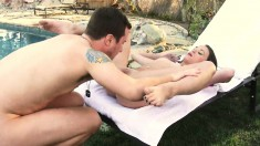Kacy Lane seduces the pool boy and has him drilling her peach outside