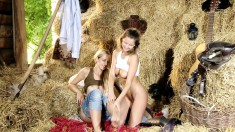 Enchanting lesbian lovers finger each other in every hole in the barn