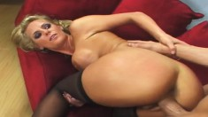 Stunning blonde vixen Phoenix Marie takes a pounding in black stockings