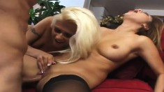 Hot blonde and brunette suck and fuck a tattooed guy's cock and drink his cum