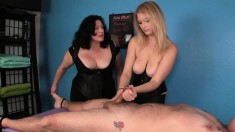 Kinky Mother And Daughter Bare Their Tits To Play With A Spread-eagled Dude's Cock