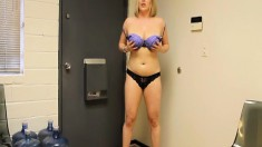 Stunning blonde girl with big hooters pleases a long shaft POV style