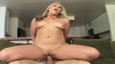 Stacked blonde Jaycie gives a titty fuck and gets her sweet pussy drilled