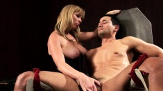 Big-breasted blonde is eager to take this bulging sausage in her hands