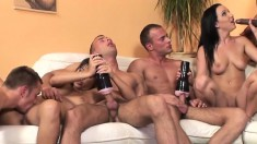 Dark-haired slut lets these horny players lick her wet meat wallet