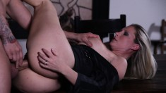 Magnificent blonde with big boobs has a tattooed guy banging her slit