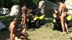 Horny Hunks Julian Vincenzo And Lucio Maverick Suck And Fuck Their Way In A Six-man Outdoor Orgy