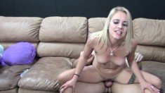 Ash Hollywood shares a strap-on toy and a big dick with Cameron Canada