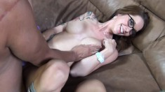Callie Nicole and Alexis Monroe tag team each other and a lucky dick