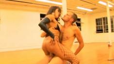Interracial lesbian friends seduce a hung stud to punish their holes