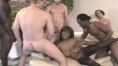 Big Saggy Tit Ebony Keisha Gets All Her Holes Nailed In A Gangbang