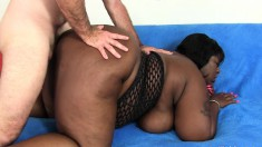 Big booty black nympho indulges in intense anal sex with a white stud