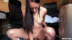The sexy babe rides his cock with fervor in the office and enjoys intense pleasure