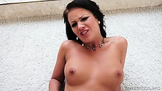 Perfect babe with flat belly exposes her shaved cleft for superb banging