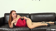 Dani Jensen puts on black high-heels and teases her favorite viewers