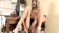 Drilling her pussy with a huge dildo, April finds the pleasure she's looking for