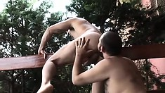 Bearded guy gets his hairy ass plowed by a younger man's cock