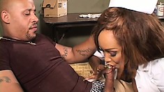 Curvaceous ebony lady in white stockings Tracy Mathis takes a black cock in her cunt