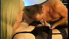 Blonde tranny trades oral, gets her ass licked, and then punctured