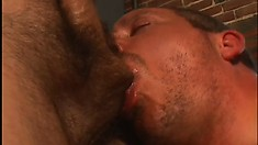 Redneck guy gets his pipes fixed by a handsome plumber's cock