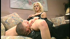 Foxy blonde babe Hannah Harper gets fucked by her boss in the ass
