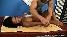 Black beauty with perfect boobs and ass Elena Heiress gets fucked on the massage table