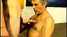 Naughty old man goes down and dirty with a young bi-curious hunk