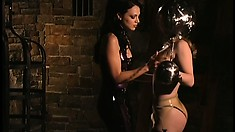 Submissive babe services her mistress as she explores her fantasies