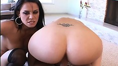 Two filthy babes take turns madly bouncing on a stiff cock POV style