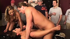 Horny frat brother takes on two bitches in front of his drinking buddies
