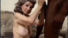 Granny Gigi pays the black plumber with a blowjob and sloppy fuck, and eats cum