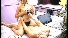 Natalie rides his cock like a cowgirl then swallows his load