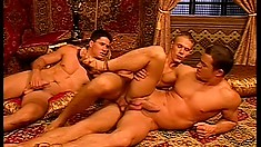 Hunky boys exchange deep blowjobs before indulging in steamy anal action