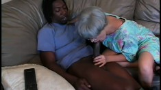 Granny gets her went ancient cunt trashed by a big black dick