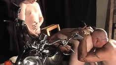 Biker boys bare it all in the alley and have a gay threesome on the motorcycle