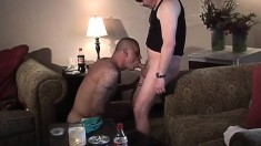 Two hairy studs get together in a hotel room and enjoy hot gay sex