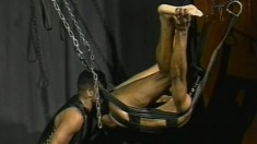 Leather fetish ebony lovers make intense anal love to one another