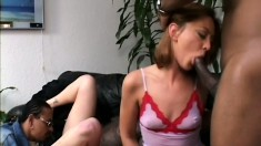 Two horny Milfs in an interracial threesome getting drilled by black cock